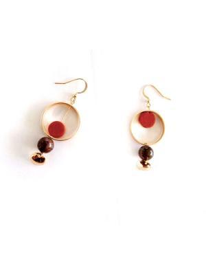 Серьги SAVANNA. Цвет: бордовый, золотистый, светло-коричневый