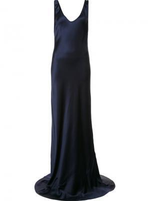 Вечернее платье с глубоким вырезом Galvan. Цвет: синий