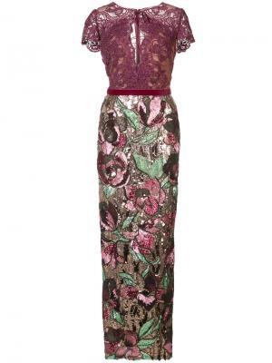 Декорированное длинное платье Marchesa Notte. Цвет: розовый и фиолетовый