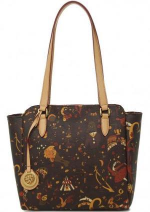 Коричневая сумка с длинными ручками Piero Guidi. Цвет: коричневый