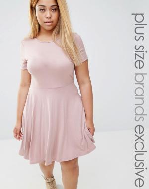 Club Lounge Plus Короткое приталенное платье с короткими рукавами L. Цвет: розовый