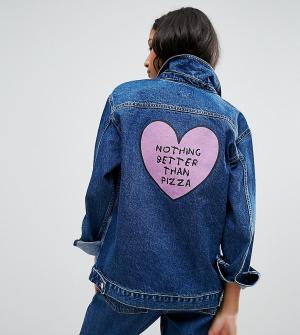 Chorus Джинсовая оversize-куртка с надписью. Цвет: синий