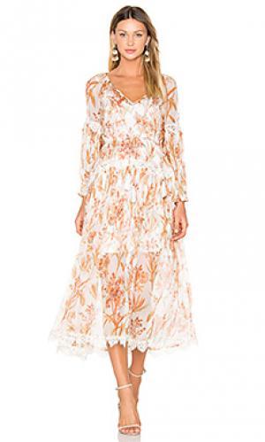 Мешковатое платье со сборками oleander Zimmermann. Цвет: белый
