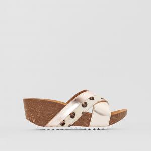 Туфли без задника кожаные двухцветные YARIS ELIZABETH STUART. Цвет: белый/ серебро,розово-платиновый