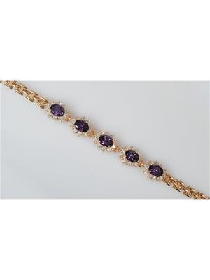 Браслет Аметист Lotus Jewelry. Цвет: золотистый, фиолетовый
