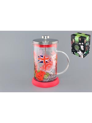 Чайник с поршнем Viva - DeLuxe England Elan Gallery. Цвет: красный, прозрачный