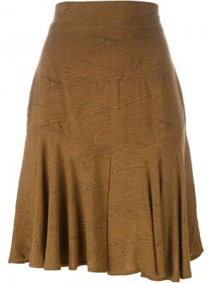 Расклешенная юбка с абстрактным узором Alaïa Vintage. Цвет: коричневый