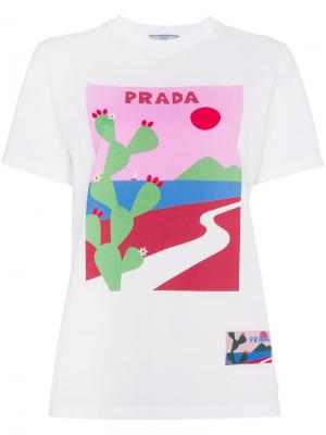 Футболка с принтом Cactus Prada. Цвет: белый