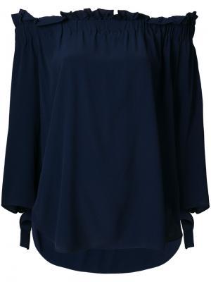Блузка с открытыми плечами Erika Cavallini. Цвет: синий
