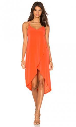 Миди платье с глубоким вырезом Bella Luxx. Цвет: оранжевый