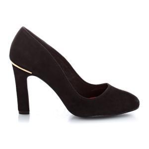 Туфли из нубуковой кожи с золотистыми деталями, на каблуке ELLE. Цвет: черный