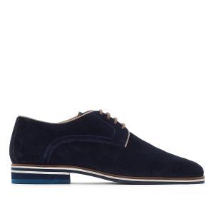 Ботинки-дерби на шнуровке из спилка La Redoute Collections. Цвет: серый,темно-синий