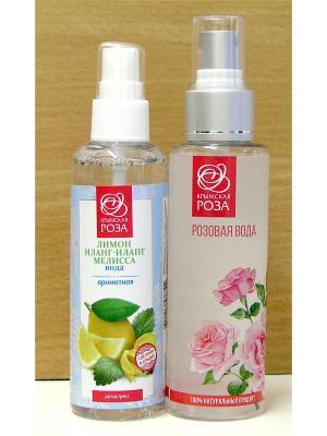 Набор Вода розовая натуральная +Вода ароматная Лимон+Иланг+Мелисса Крымская Роза. Цвет: белый