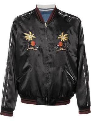 Куртка бомбер с вышивкой Htc Hollywood Trading Company. Цвет: чёрный