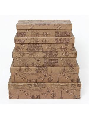 Коробка крафт  53, набор из 5 прямоугольных. 22х10х5 - 30х18х7 сантиметров. VELD-CO. Цвет: светло-коричневый