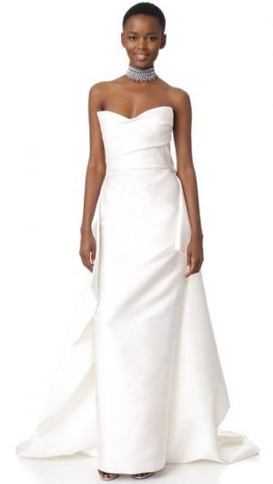 Длинное вечернее платье Monique Lhuillier. Цвет: белый шелк