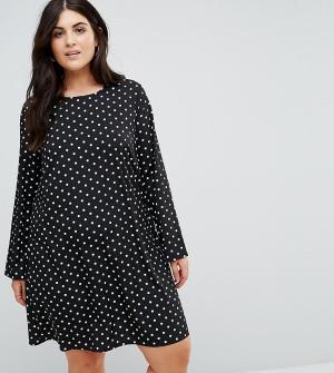 Alice & You Свободное платье в горошек с длинными рукавами. Цвет: черный