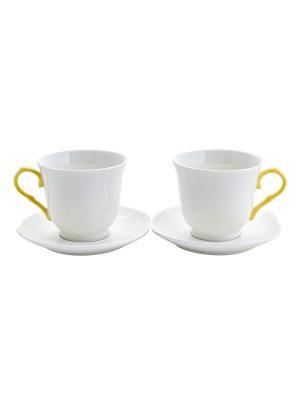 Набор из 2-х чайных чашек с блюдцем Белая классика Elff Ceramics. Цвет: белый