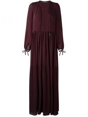 Длинное платье с вырезом на шнуровке Plein Sud. Цвет: розовый и фиолетовый