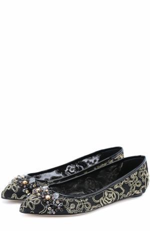 Балетки из текстиля с вышивкой и кристаллами Oscar de la Renta. Цвет: черный