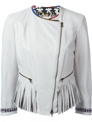 Байкерская куртка с бахромой Bazar Deluxe. Цвет: серый