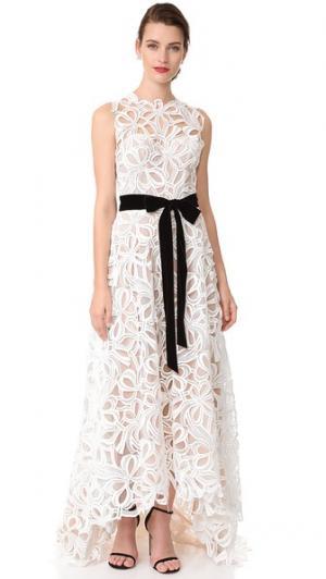 Асимметричное вечернее платье без рукавов Monique Lhuillier. Цвет: белый