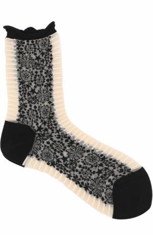 Хлопковые носки с принтом Antipast. Цвет: черно-белый