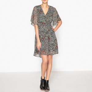 Платье с рисунком IKKS. Цвет: хаки