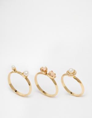 Neve & Eve Комплект из трех колец. Цвет: золотой