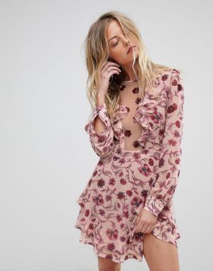 For Love And Lemons Платье мини с глубоким вырезом и цветочным принтом. Цвет: розовый