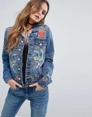 BLANK NYC Джинсовая куртка с вышивкой. Цвет: синий
