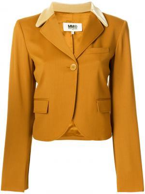 Блейзер с бархатным воротником Mm6 Maison Margiela. Цвет: жёлтый и оранжевый