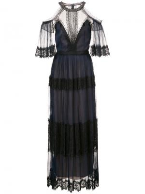 Платье с кружевной отделкой Marchesa Notte. Цвет: синий
