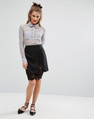 Fashion Union Мини-юбка с кружевным нижним слоем. Цвет: черный
