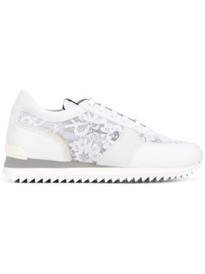 Кроссовки с кружевными панелями Le Silla. Цвет: белый