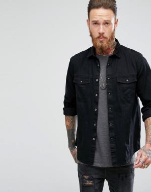 ASOS Джинсовая рубашка навыпуск с вельветовым воротником. Цвет: черный
