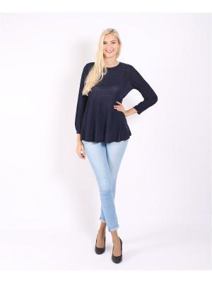 Блуза ОДЕКС-СТИЛЬ. Цвет: темно-синий