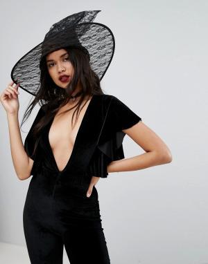 Leg Avenue Кружевная шляпа ведьмы на Хэллоуин. Цвет: черный