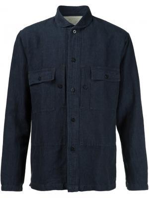 Рубашка с нагрудными карманами Rrl. Цвет: синий
