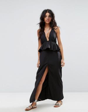 ASOS Пляжное платье макси с оборками. Цвет: черный