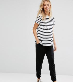 ASOS Maternity Трикотажные брюки-галифе со шнурком. Цвет: черный