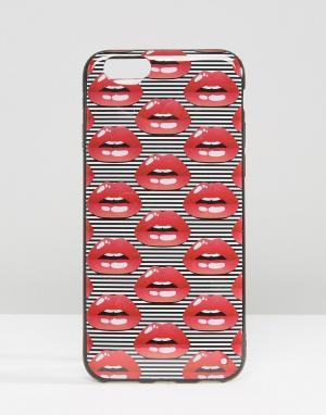 SIGNATURE Чехол для iPhone 6 с принтом губ. Цвет: красный