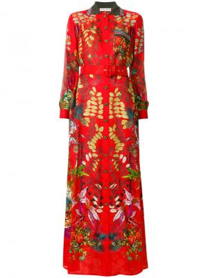 Платье с поясом цветочным узором Etro. Цвет: красный