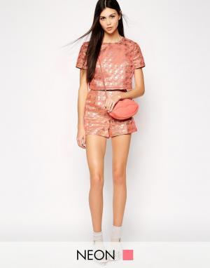 Lashes of London Жаккардовые шорты с завышенной талией. Цвет: розовый