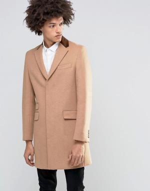 Gianni Feraud Пальто из 80% итальянской шерсти с бархатным воротником. Цвет: рыжий