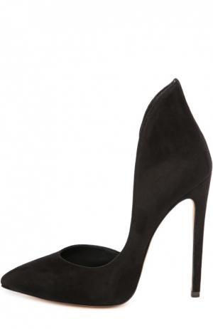Замшевые туфли Tinatin на шпильке Aleksandersiradekian. Цвет: черный