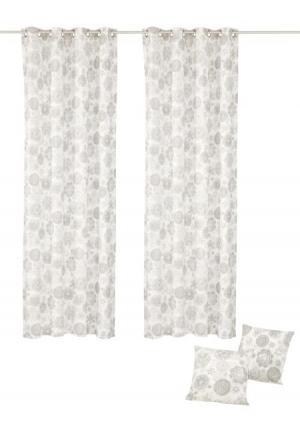 Комплект: 2 шторы + наволочки MY HOME. Цвет: серый/молочно-белый