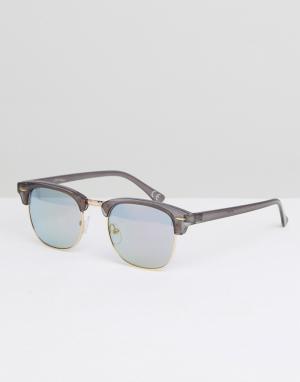 Jeepers Peepers Солнцезащитные очки в стиле ретро. Цвет: серый