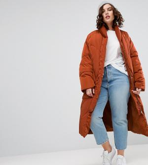 ASOS Curve Дутая куртка с варежками. Цвет: красный
