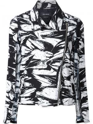 Байкерская куртка с абстрактным принтом Yigal Azrouel. Цвет: чёрный